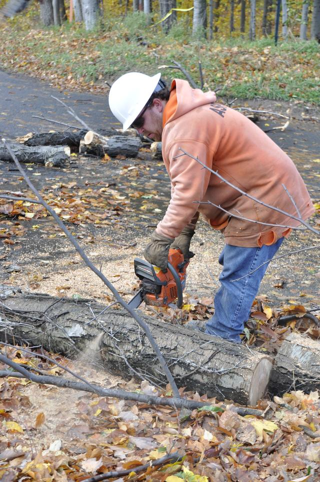 RG&E officials work to clear up trees that came down in the area of Lake Rd. after Super Storm Sandy. October 2012