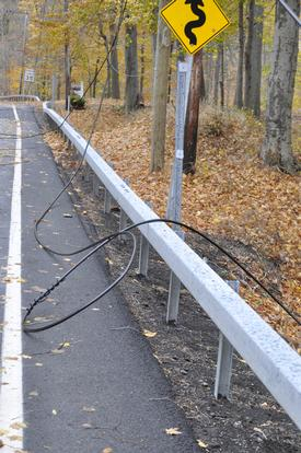 Power line that was taken down on Lake Rd causing the road to be shut down during Super Storm Sandy. October 2012