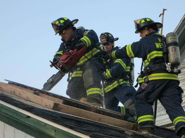 Ventilation Training at roof simulator at Point Pleasant Fire Department