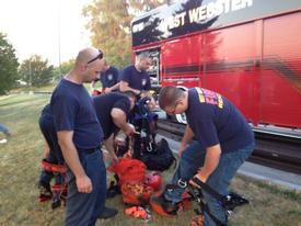 Rope Rescue training at K-Mart Plaza. July 2012