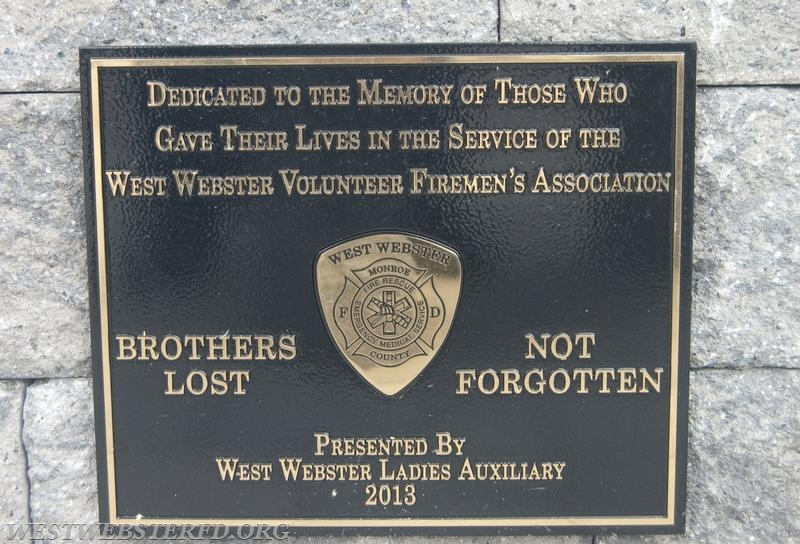Plaque donated by the West Webster Volunteer Ladies Auxilliary